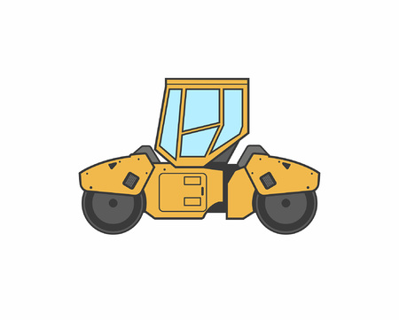 Asphalt steamroller icon Vector illustration.