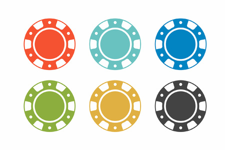 Colorful casino chips on white background. top view