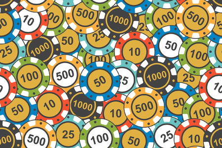 Different Colorful Casino Chips seamless pattern