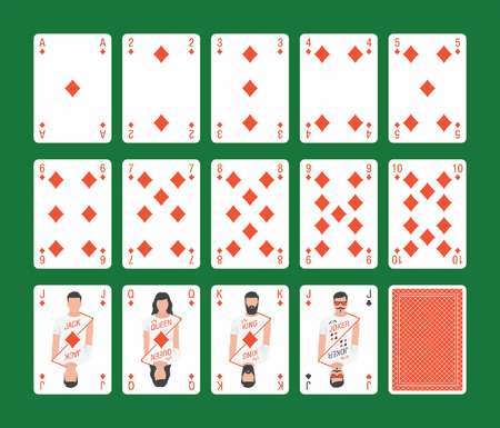 Playing cards of Diamonds suit and back on green background Foto de archivo - 100285521