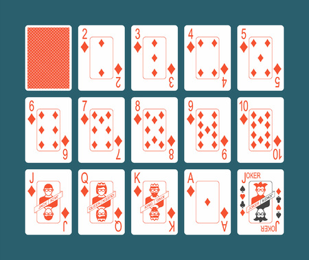 Playing cards of Diamonds suit and back on Blue background Foto de archivo - 100209519