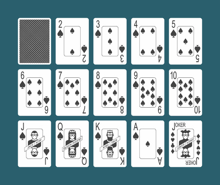 Playing cards of Spades suit and back on Blue background Vectores