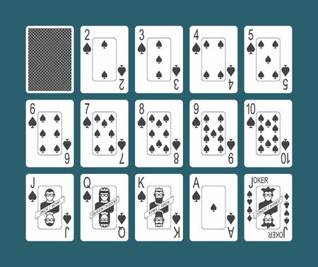 Jugando a las cartas del palo de espadas y la espalda sobre fondo azul.
