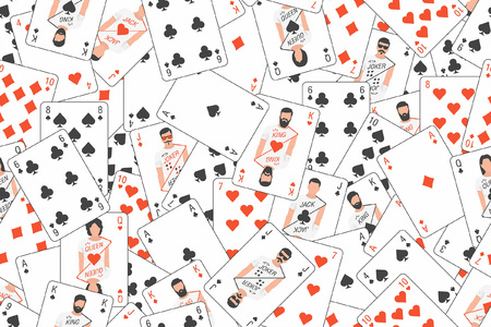 Seamless pattern of playing cards randomly placed Vector illustration. Illustration