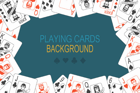 Background of playing cards randomly placed over Blue background Vector illustration.