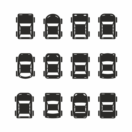 Set of black car icons in top view isolated on white background