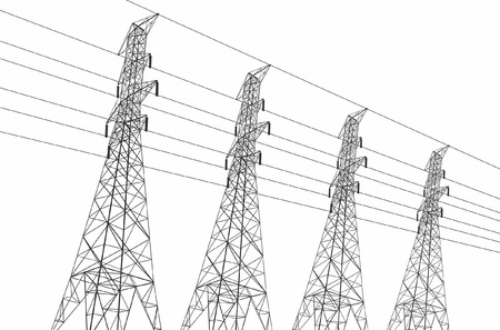 Electric power lines on white background Иллюстрация