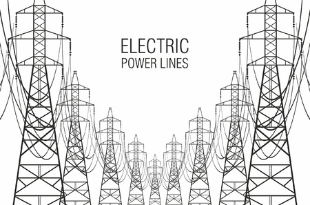 Electric power lines on white background Illustration