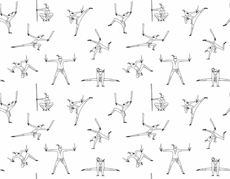 Seamless pattern of ninja isolated on white background.