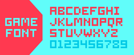 Pixel video game alphabet. letters and numbers. isolated on white background