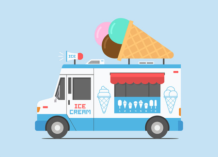 Ice Cream Truck, mobile shop. flat style. isolated on blue background