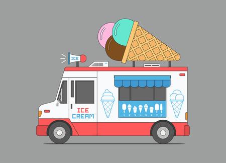 Eiswagen, mobiler Laden. flacher Stil. isoliert auf schwarzem Hintergrund Vektorgrafik