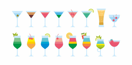 Colourful Different cocktails icon. flat style. isolated on white background