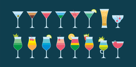 Colourful Different cocktails icon. flat style. isolated on dark blue background Illustration