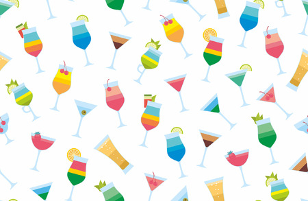 Seamless pattern with cocktails flat style. Çizim