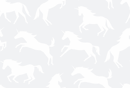 Seamless pattern with white unicorns silhouettes. flat style. isolated on white background