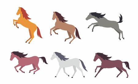 Set of colorful horses. flat style. isolated on white background