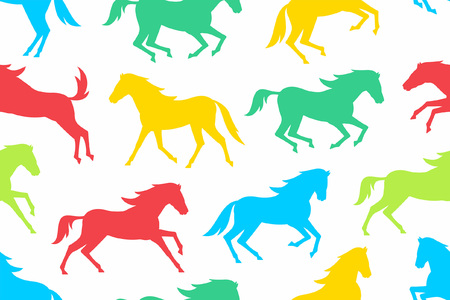 Seamless pattern with Colorful horses silhouettes. flat style. isolated on white  background
