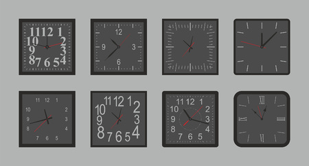 Set of black Square wall clock. flat style. isolated on gray background
