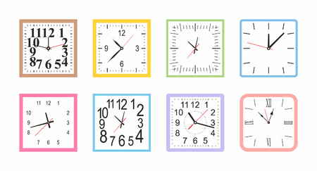 Set of Colorful Square wall clock. flat style. isolated on white background