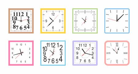Zestaw kolorowych zegarów ściennych Square. płaski styl. na białym tle