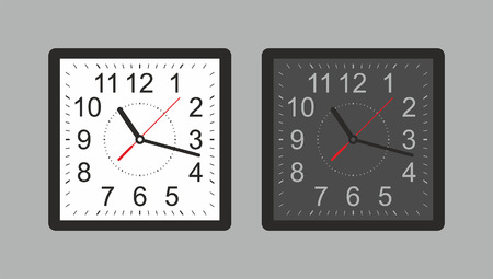 Square wall clock. White and black. isolated on gray background