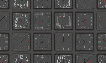 Seamless pattern with black Square wall clock. flat style. isolated on black background