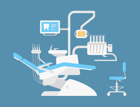 Dentist chair. flat style. isolated on blue background Vettoriali