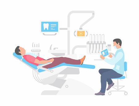 Zahnarzt und Mann im Zahnarztstuhl. flacher Stil. isoliert auf weißem Hintergrund Vektorgrafik