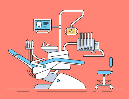 Dentist chair. thin line style. isolated on red background