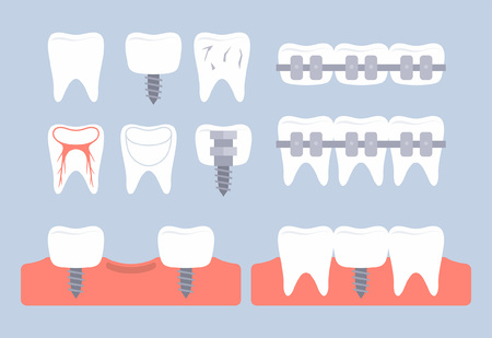 Dental tooth icons. flat style. isolated on gray background
