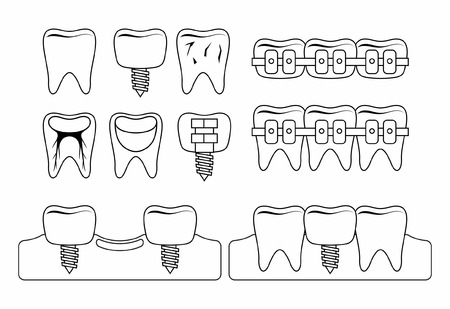 Dental tooth icons. thin line style. isolated on white background