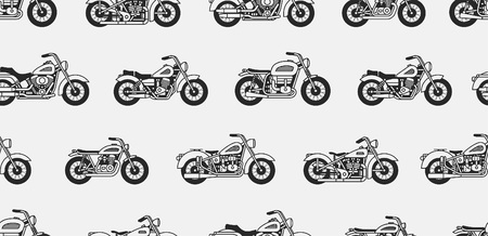 Seamless pattern with vintage motorcycles black silhouettes. isolated on gray background