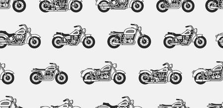 Nahtloses Muster mit schwarzen Silhouetten der Vintage-Motorräder. isoliert auf grauem Hintergrund