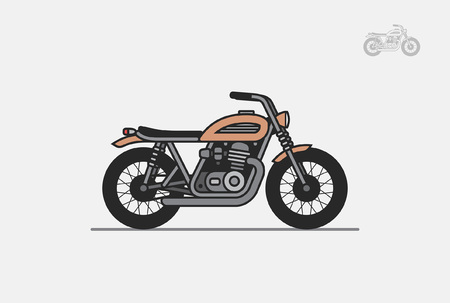 brown vintage motorcycle. isolated on gray background