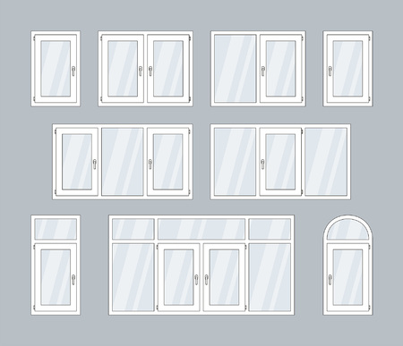 set of white plastic windows. isolated on gray background Çizim