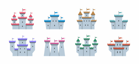 Colorful castles and fortresses icons set. flat style. isolated on white background