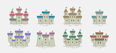 Colorful castles and fortresses icons set. thin line style. isolated on gray background Illustration