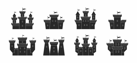 castles and fortresses icons set. black silhouettes. isolated on white background