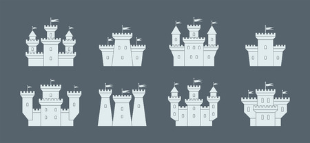 castles and fortresses icons set. white silhouettes. isolated on black background