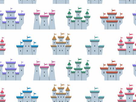 Patrón sin fisuras con castillos y fortalezas de colores. estilo plano. aislado sobre fondo blanco