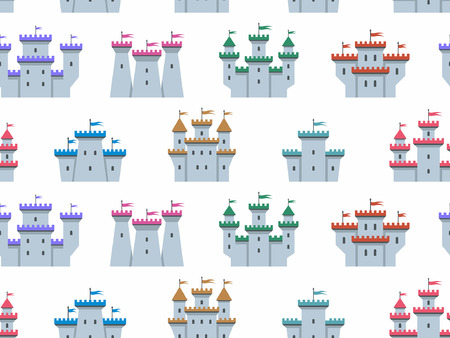 Seamless pattern with Colorful castles and fortresses. flat style. isolated on white background