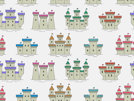 Seamless pattern with Colorful castles and fortresses. thin line style. isolated on gray background