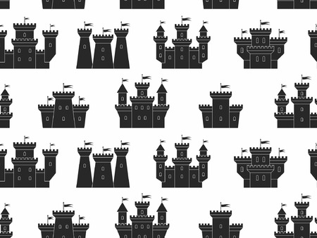 Seamless pattern with castles and fortresses. black silhouettes. isolated on white background