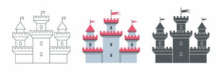 Castle icon. flat style. isolated on white background