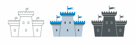 Castle icon. flat style. isolated on white background