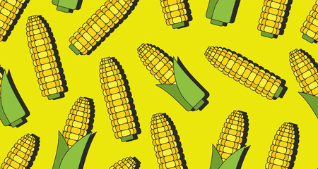 Seamless pattern with corn, thin line style. isolated on green background
