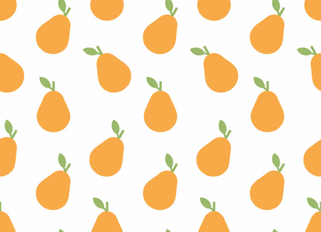 Seamless pattern with Pear, flat style. isolated on white background