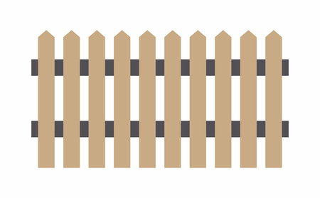 Brown wooden fence. flat style. isolated on white background