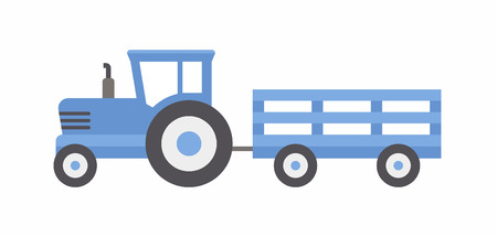 Blue tractor with trailer. flat style. isolated on white background
